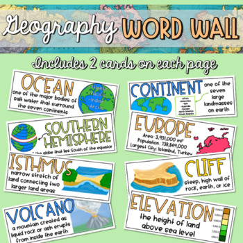 Geography Word Wall - Ready to Print!