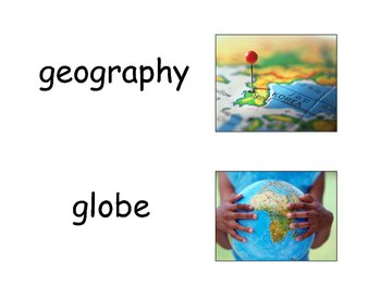 Geography Word Wall Vocabulary w/ Definitions-Colored Illustrations
