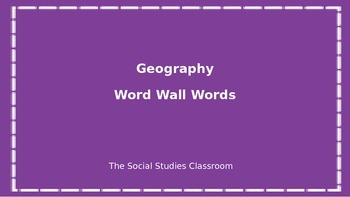 Geography Word Wall Words