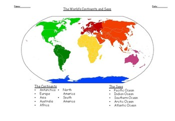 Geography Worksheet: Name and locate the world's 7 continents and 5 oceans