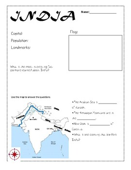 Geography Worksheets: India, Thailand, Zimbabwe, Finland