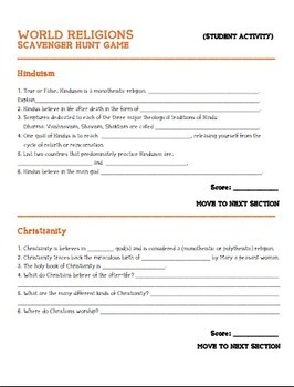 Geography: World Religions Scavenger Hunt Game