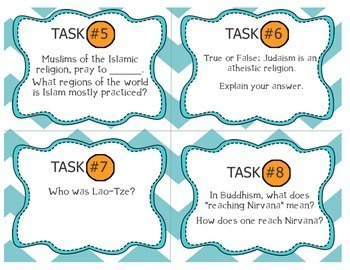 Geography: World Religions Task Card Cooperative Activity