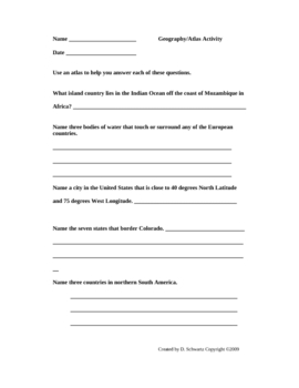 Geography and Atlas Map Skills Activities Grades 3-6