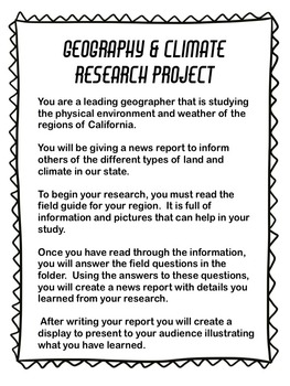California Regions Geography and Climate Research Project