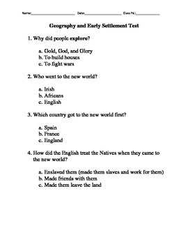 Geography and Early Settlement Modified Test