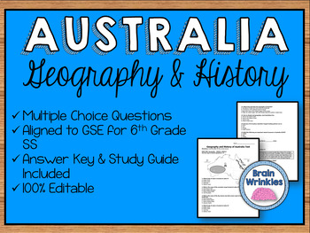 Geography and History of Australia Assessment (Editable)