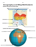 Geography and Map Skills Quiz with Key