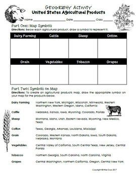 Geography and Map Skills activity for U.S. Agricultural Products
