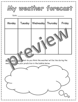 Geography and Science: weather forecast handout, worksheet