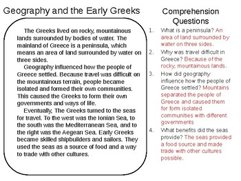 Geography and the Early Greeks Reading Comprehension with Answers