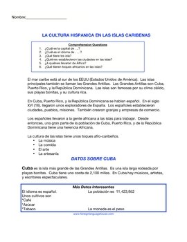 Geography in Spanish: Cuba Mapy Study & Basic Spanish Reading