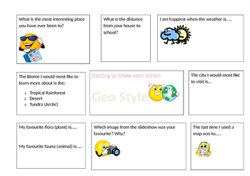 Geography introduction activity