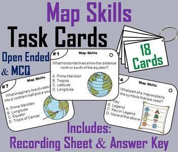 US and World Geography (k-12) Task Cards Bundle (Map Skills Unit)