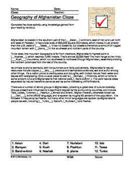 Geography of Afghanistan Map and Worksheet Package with Answer Keys