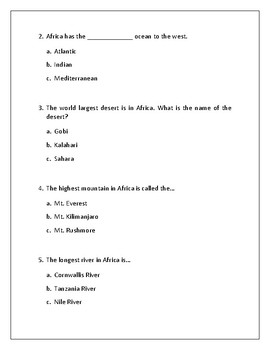 Geography of Africa - Physical/Climate