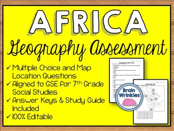 Geography of Africa Assessment (Editable)