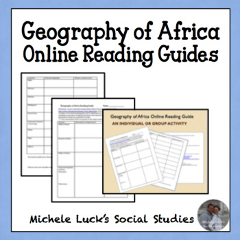 Geography of Africa Online or Text Reading Guides - Two Options