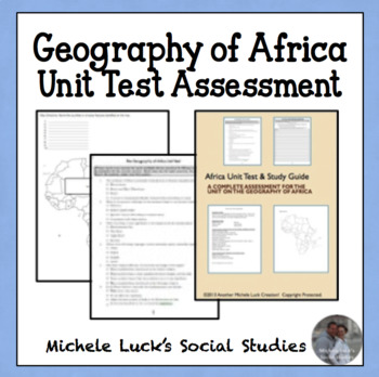Geography of Africa Unit Test & Study Guide Set