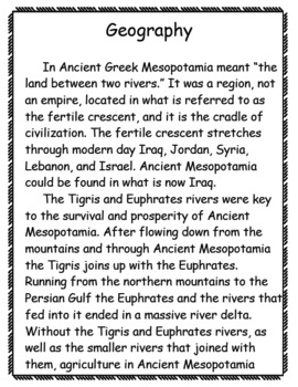 Geography of Ancient Mesopotamia Pack