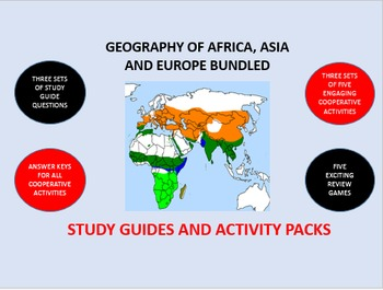 Geography of Asia, Africa and Europe Bundle: Study Guide/Activity Packs