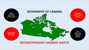 Geography of Canada: Interdependent Answer Sheets Activity