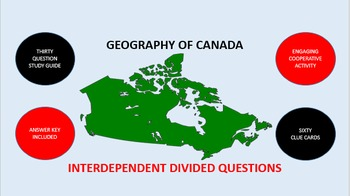 Geography of Canada: Interdependent Divided Questions Activity