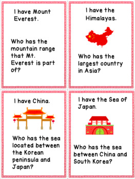 Geography of China I Have Who Has Game