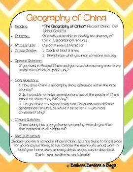 Geography of China Socratic Seminar Lesson Plan