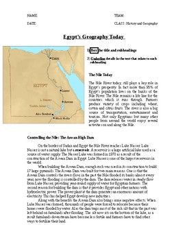 Geography of Egypt HW - 5th grade