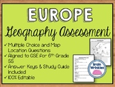 Geography of Europe Assessment (Editable)