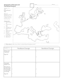 Geography of Europe and Roman Empire  Graphic Organizer or Worksheet HOLT TEXT