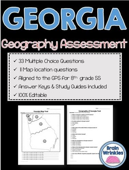 Geography of Georgia Assessment (Editable)