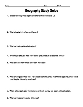 Geography of Georgia Study Guide