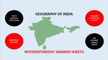 Geography of India: Interdependent Answer Sheets Activity