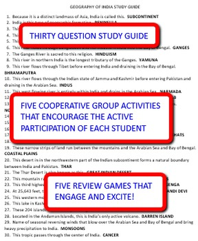 Geography of India: Study Guide and Activity Pack