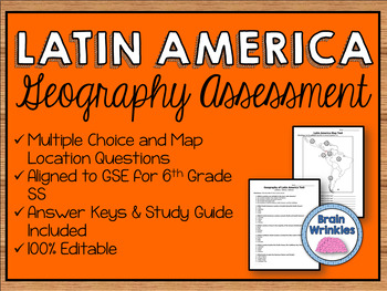 Geography of Latin America Assessment (Editable)