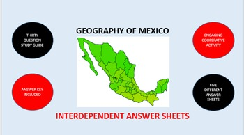 Geography of Mexico: Interdependent Answer Sheets Activity