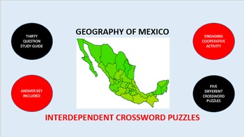 Geography of Mexico: Interdependent Crossword Puzzles Activity