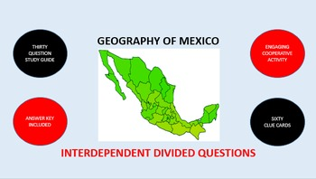 Geography of Mexico: Interdependent Divided Questions Activity