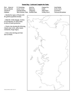 Geography of Russia Map and Reading Activities