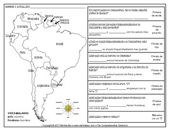 Geography of South America coloring activity in Spanish