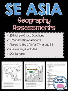 Geography of Southern and Eastern Asia Assessments (Editable)