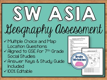 Geography of Southwest Asia Assessment (Editable)