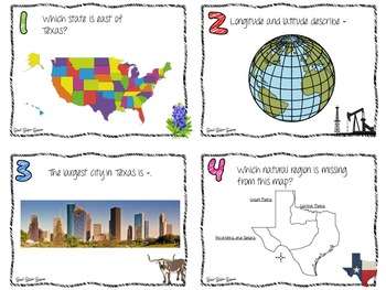 Geography of Texas Task Cards for Texas History 7th Grade