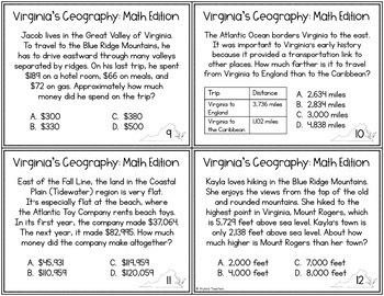 Geography of Virginia Math Task Cards *Cross-Curricular* (VS.2)