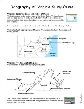 Geography of Virginia Study Guide and Review Worksheet (VS.2a-c)