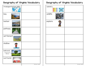 Geography of Virginia Vocabulary Charts (VS.2a-c)