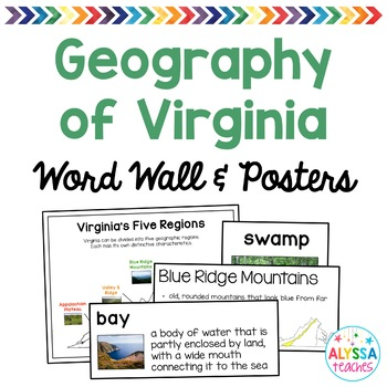 Geography of Virginia Word Wall/Poster Set (VS.2a-c)