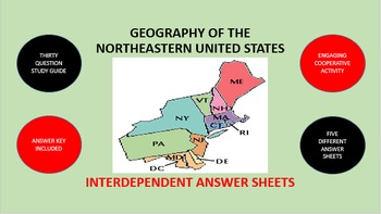 Geography of the Northeastern United States: Answer Sheets Activity